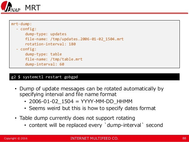 INTERNET MULTIFEED CO.Copyright © 2016 MRT • Dump of update messages can be rotated automatically by specifying interval a...