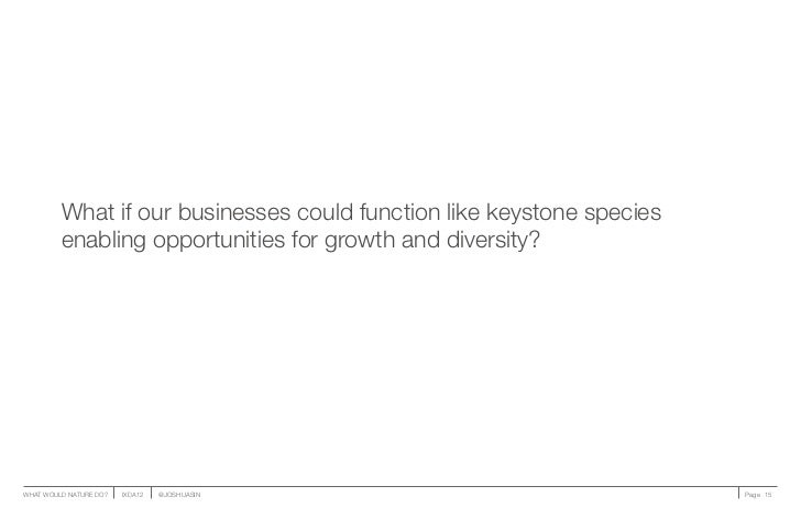 What if our businesses could function like keystone species         enabling opportunities for growth and diversity?WHAT W...