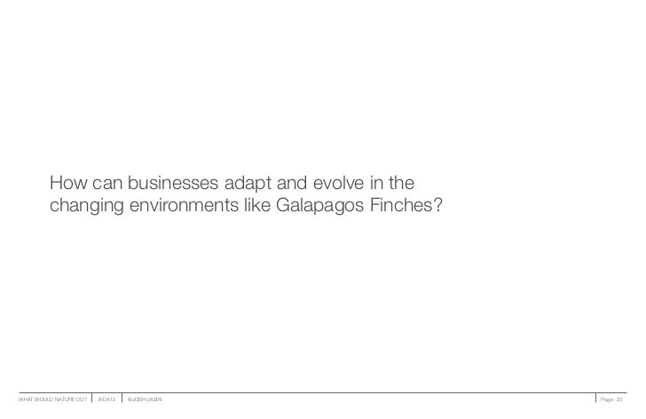 How can businesses adapt and evolve in the         changing environments like Galapagos Finches?WHAT WOULD NATURE DO?   IX...