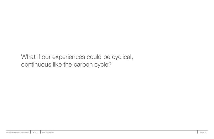 What if our experiences could be cyclical,              continuous like the carbon cycle?WHAT WOULD NATURE DO?   IXDA12   ...