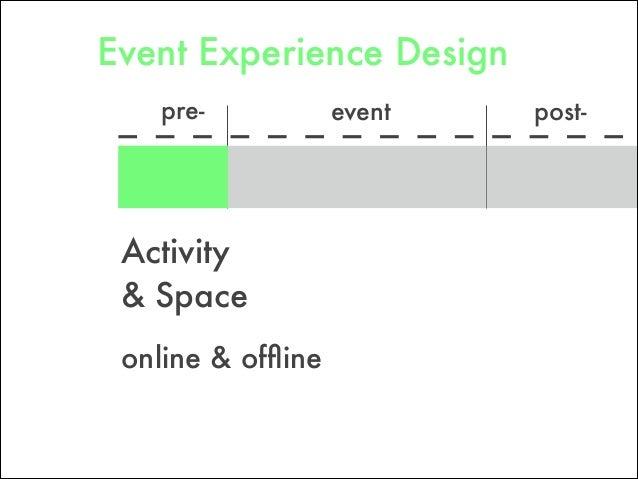 pre- post-event Activity & Space online & offline Event Experience Design