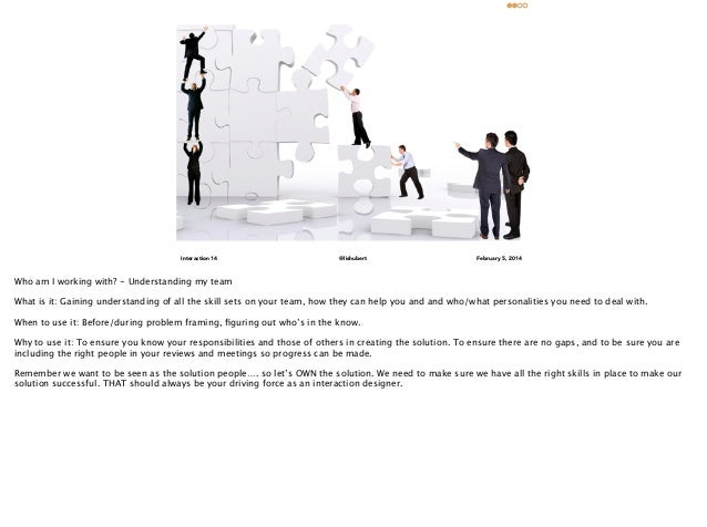 Who am I working with? Understanding my team  •  What is it: Gaining understanding of all the skill sets on your team, how...