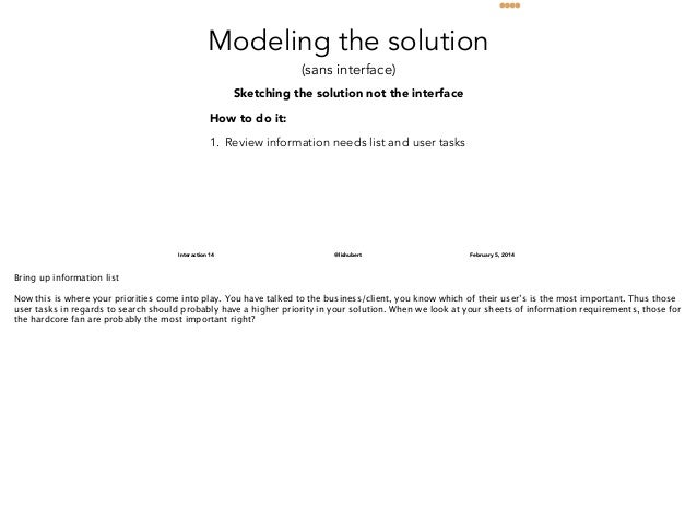 Modeling the solution (sans interface)  Sketching the solution not the interface How to do it: 1. Review information needs...