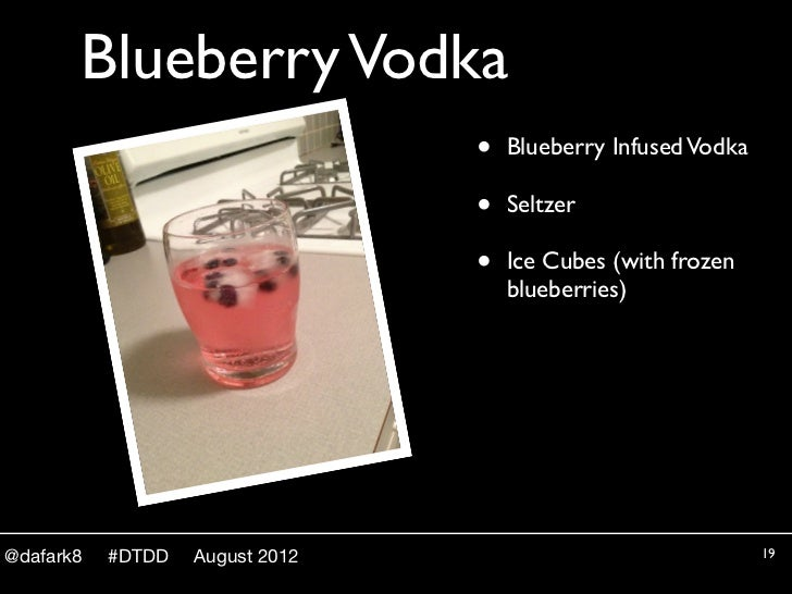 Blueberry Vodka                                 •   Blueberry Infused Vodka                                 •   Seltzer   ...