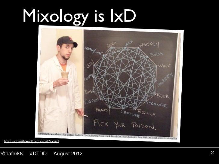 Mixology is IxD http://survivingtheworld.net/Lesson1225.html@dafark8             #DTDD              August 2012   20