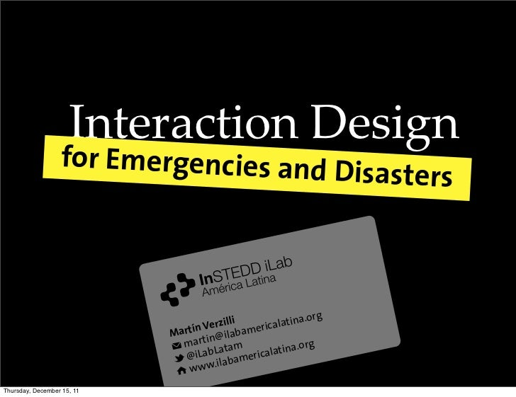 Interaction Design                  for Emergencies and D                                                                 ...