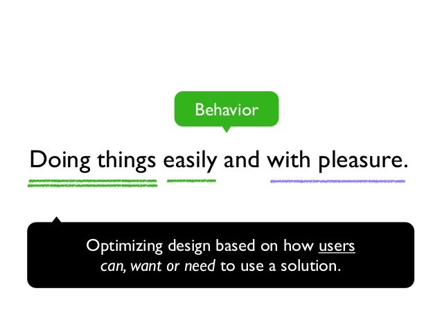 Behavior  Doing things easily and with pleasure.  Optimizing design based on how users  can, want or need to use a solutio...
