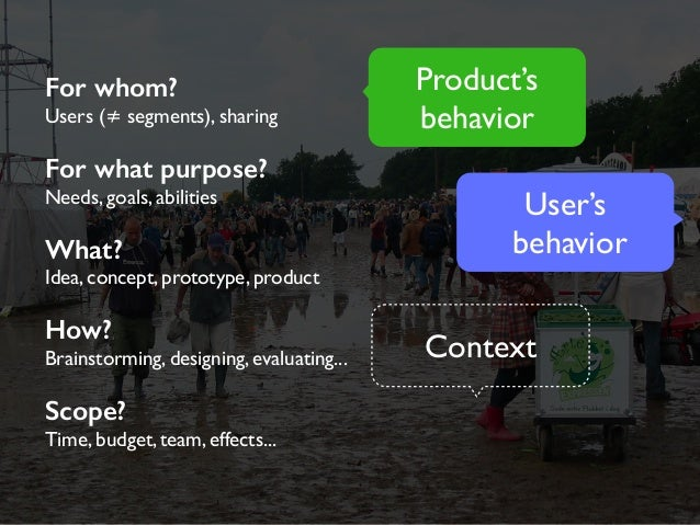 For whom?  Users (≠ segments), sharing  For what purpose?  Needs, goals, abilities  What?  Idea, concept, prototype, produ...
