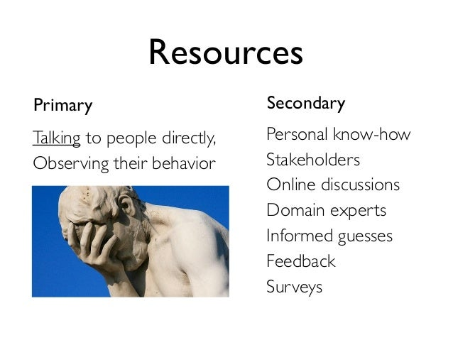 Resources  Primary Secondary  Personal know-how  Stakeholders  Online discussions  Domain experts  Informed guesses  Feedb...
