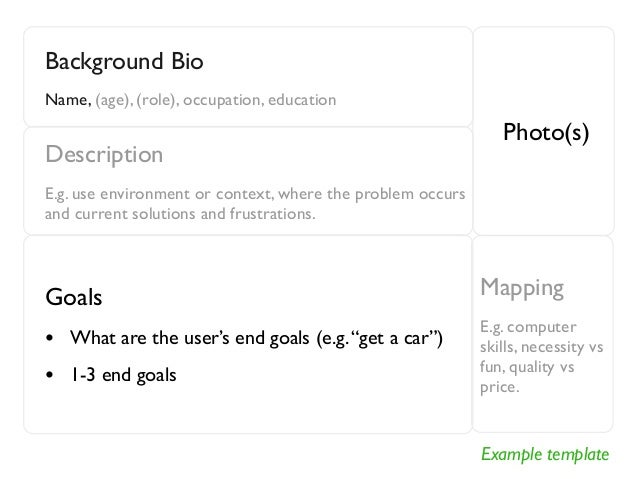 Example template  Background Bio  Name, (age), (role), occupation, education  Photo(s)  Description  E.g. use environment ...