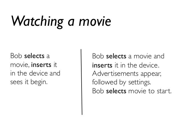 Watching a movie  Bob selects a  movie, inserts it  in the device and  sees it begin.  Bob selects a movie and  inserts it...
