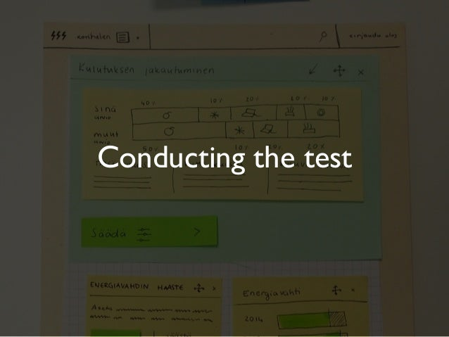 Few examples...Conducting the test