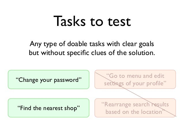 """Tasks to test """"Find the nearest shop"""" Any type of doable tasks with clear goals but without specific clues of the solution...."""