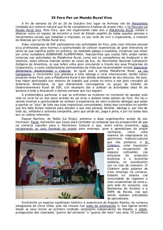 IX Foro Por un Mundo Rural Vivo A fin de semana do 24 ao 26 de Outubro tivo lugar na fermosa vila de Mondoñedo (rodeada du...