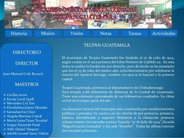 Historia          Misión        Visión              Notas              Tareas          Actividades                        ...
