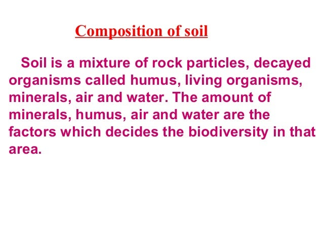 Soil pollution • The addition of harmful substances which affects the fertility of the soil and kills the diversity of org...