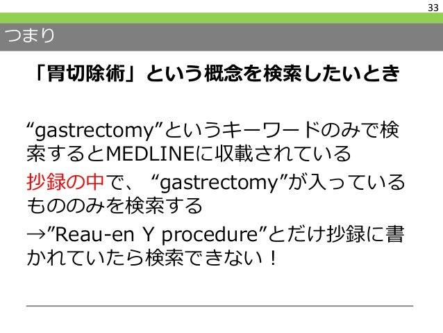 だからMeSHを知ろう! Medical Subject Headings MEDLINEで検索可能な各論文に人力で付与 されているキーワード 階層性があるので、その上位、下位のどこ まで検索するかを規定することができる 34