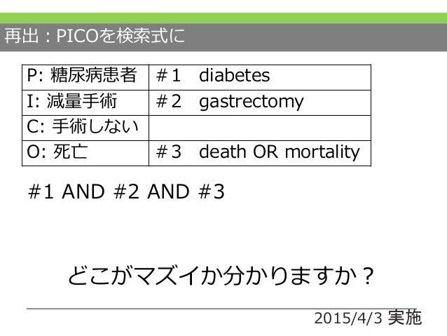 PICOを検索式に #1 AND #2 AND #3 P: 糖尿病患者 #1 diabetes I: 減量手術 #2 gastrectomy C: 手術しない O: 死亡 #3 death OR mortality ポイント1 構造化からの検索...
