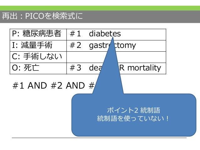 再出:PICOを検索式に #1 AND #2 AND #3 P: 糖尿病患者 #1 diabetes I: 減量手術 #2 gastrectomy C: 手術しない O: 死亡 #3 death OR mortality ポイント0 網羅性 ポ...