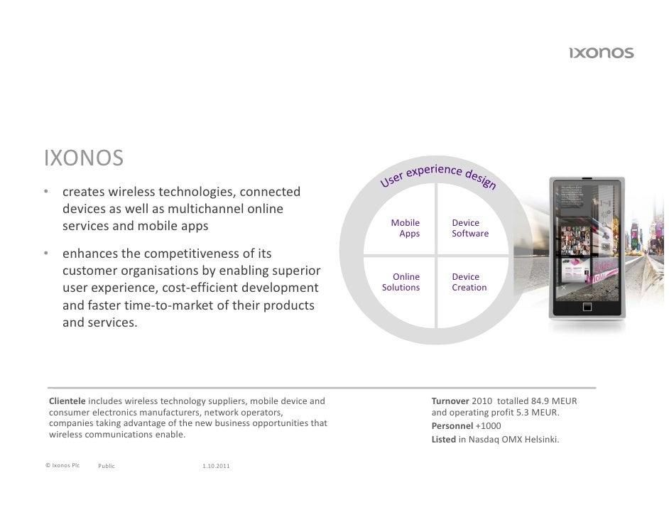 IXONOS• createswirelesstechnologies,connected  devicesaswellasmultichannelonline  servicesandmobileapps      ...