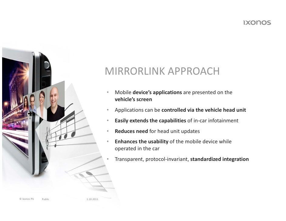 MIRRORLINKAPPROACH                                    •   Mobiledevice'sapplicationsarepresentedonthe             ...