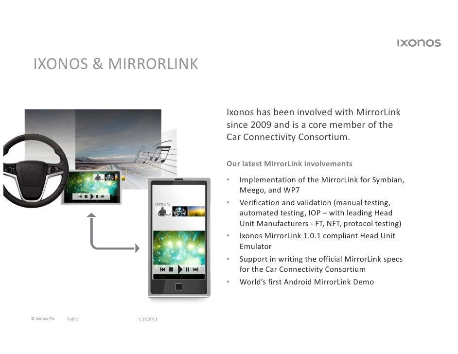 IXONOS&MIRRORLINK                                    IxonoshasbeeninvolvedwithMirrorLink                          ...