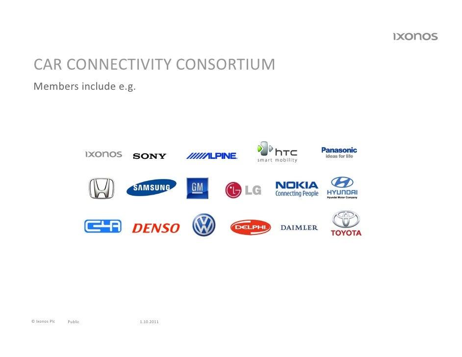 CARCONNECTIVITYCONSORTIUM Membersincludee.g.©IxonosPlc   Public   1.10.2011