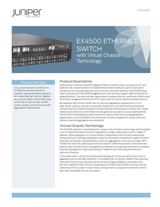 DATASHEET 1 Product Description Featuring up to 48 wire-speed 10-Gigabit Ethernet (10GbE) ports in a two rack unit (2U) pl...