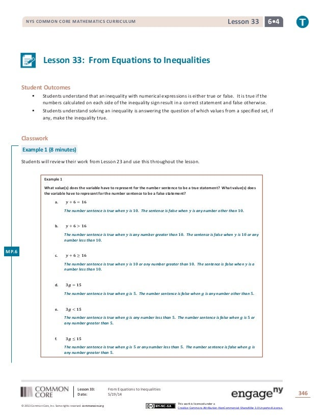 Lesson 33: From Equations to Inequalities Date: 5/19/14 346 © 2013 Common Core, Inc. Some rights reserved. commoncore.org ...