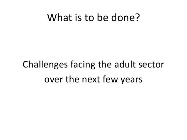 What is to be done? Challenges facing the adult sector over the next few years