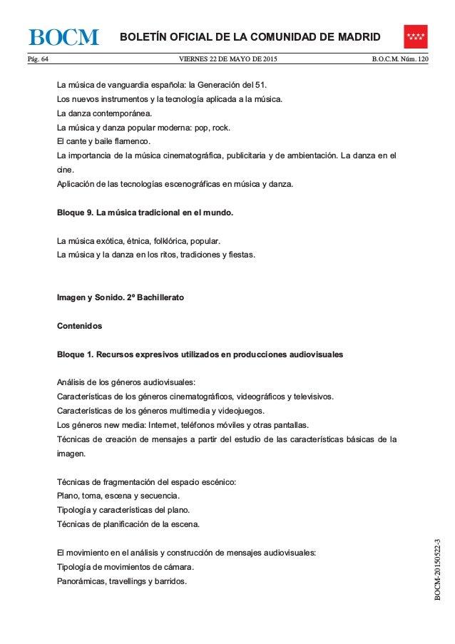 VIERNES 22 DE MAYO DE 2015P�g. 64 B.O.C.M. N�m. 120 BOCM-20150522-3 BOLET�N OFICIAL DE LA COMUNIDAD DE MADRIDBOCM La m�sic...