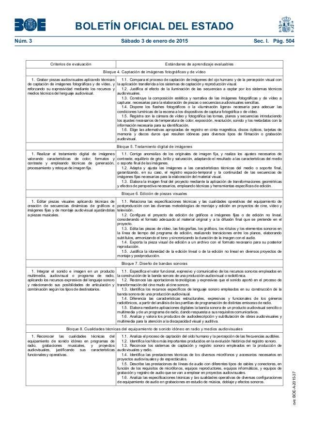 Imagen y Sonido. Contenidos, criterios y estándares de aprendizaje BOE Slide 2