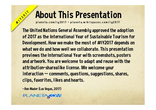International Year of Sustainable Tourism for Development #iy2017 Slide 2