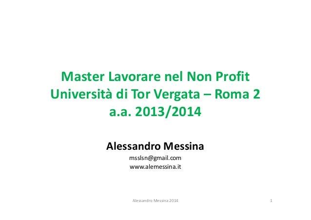 Master Lavorare nel Non Profit Università di Tor Vergata – Roma 2 a.a. 2013/2014 Alessandro Messina msslsn@gmail.com www.a...