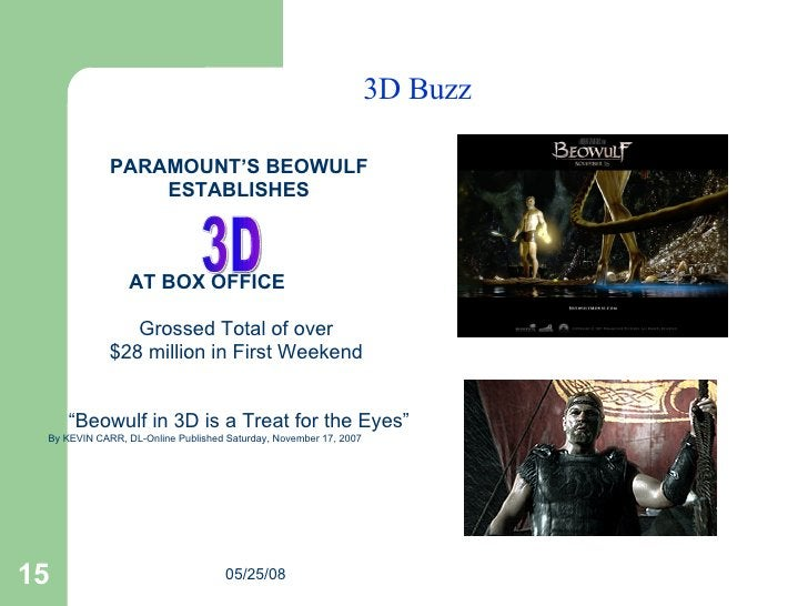 3D Buzz <ul><li>PARAMOUNT'S BEOWULF </li></ul><ul><li>ESTABLISHES </li></ul><ul><li>  </li></ul><ul><li>  AT BOX OFFICE  <...