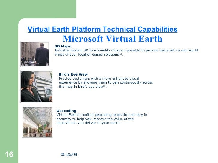 Microsoft Virtual Earth 3D Maps Industry-leading 3D functionality makes it possible to provide users with a real-world vie...