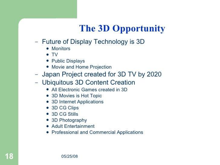 The 3D Opportunity <ul><ul><li>Future of Display Technology is 3D </li></ul></ul><ul><ul><ul><li>Monitors </li></ul></ul><...