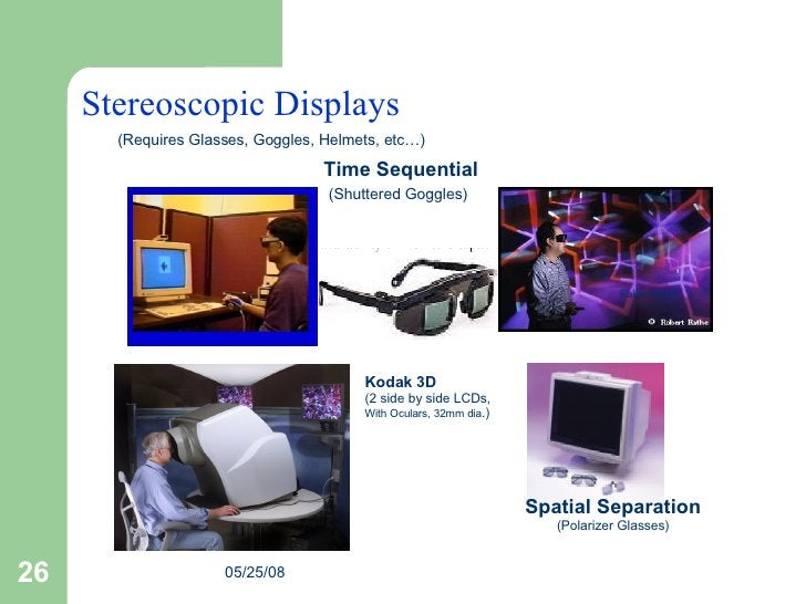Stereoscopic Displays Fake Space Time Sequential (Shuttered Goggles)   Spatial Separation (Polarizer Glasses) (Requires Gl...