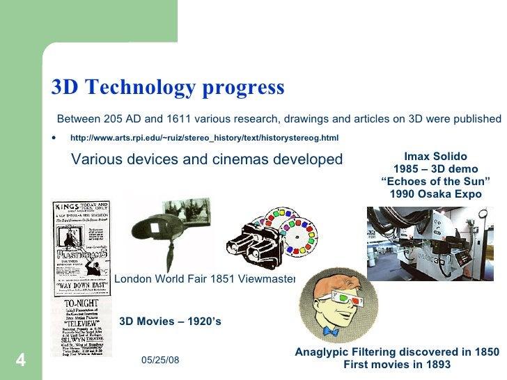 3D Technology progress <ul><li>http://www.arts.rpi.edu/~ruiz/stereo_history/text/historystereog.html </li></ul>London Worl...