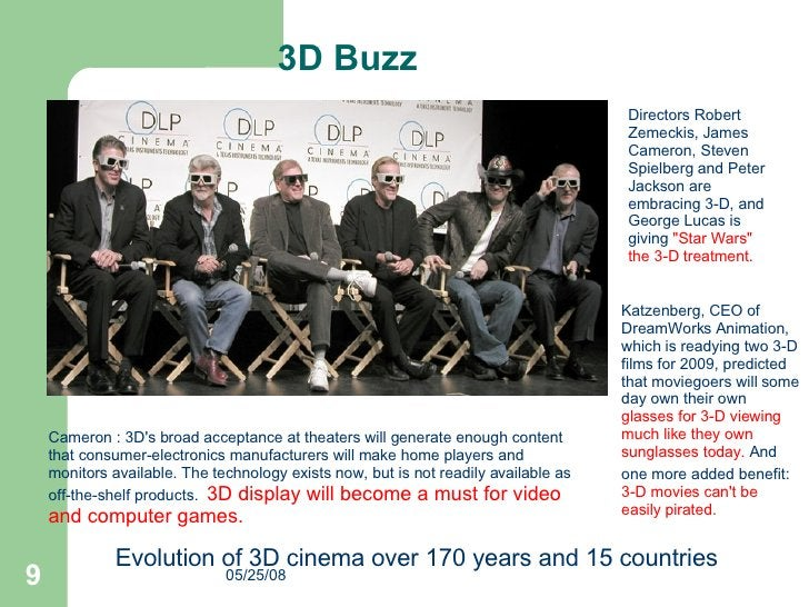 Katzenberg, CEO of DreamWorks Animation, which is readying two 3-D films for 2009, predicted that moviegoers will some day...