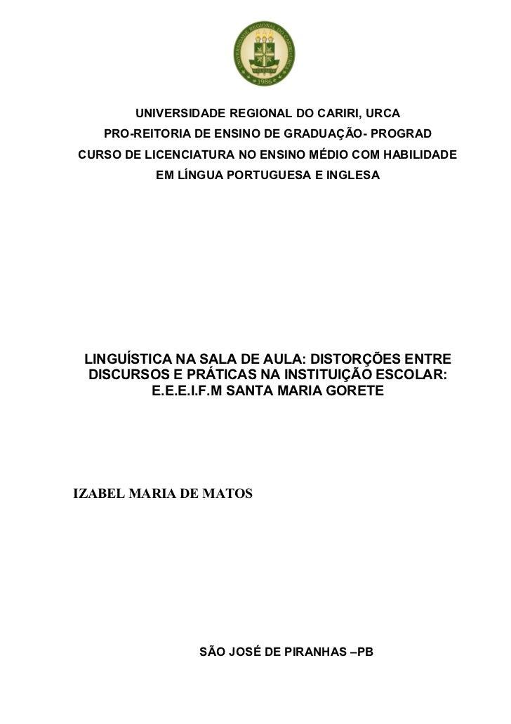 UNIVERSIDADE REGIONAL DO CARIRI, URCA   PRO-REITORIA DE ENSINO DE GRADUAÇÃO- PROGRADCURSO DE LICENCIATURA NO ENSINO MÉDIO ...