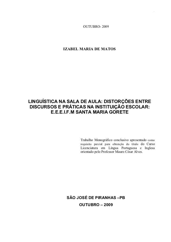 Izabel maria de matos monografia sobre linguística Slide 2