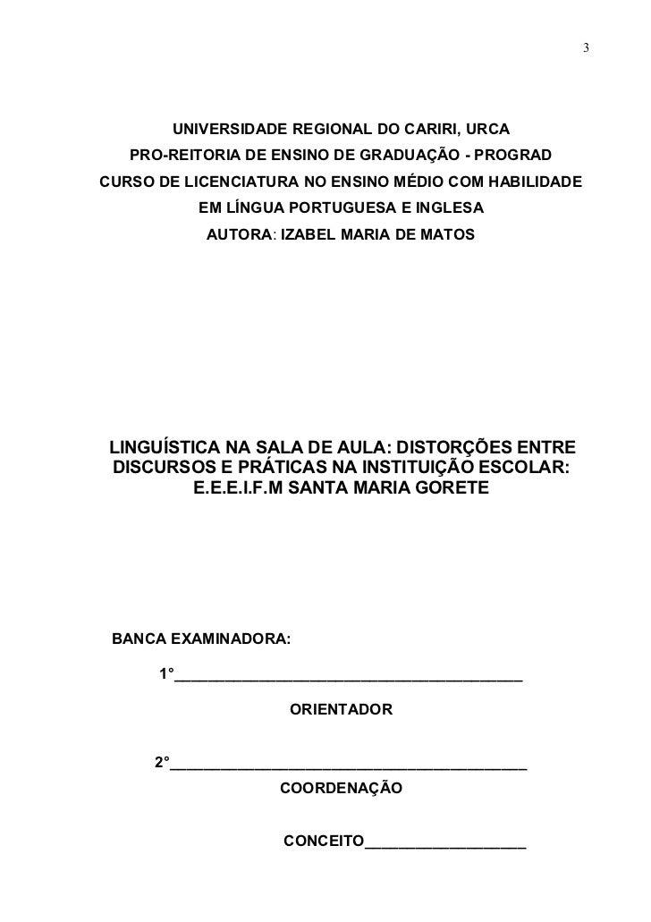 Izabel maria de matos monografia sobre linguística Slide 3