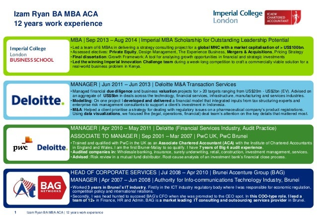 1 Izam Ryan BA MBA ACA | 12 years work experience  MBA | Sep 2013 –Aug 2014 | Imperial MBA Scholarship for Outstanding Lea...