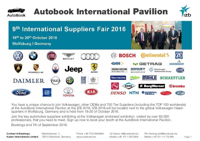 Page 1 Autobook International Pavilion Contact & Bookings: Kaiser International Limited Phone +49 7732 9456842 www.autoboo...