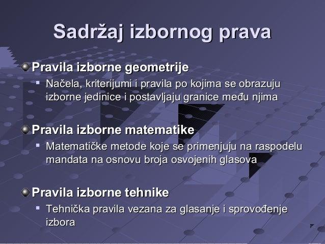 Sadržaj izbornog prava Pravila izborne geometrije   Načela, kriterijumi i pravila po kojima se obrazuju izborne jedinice ...