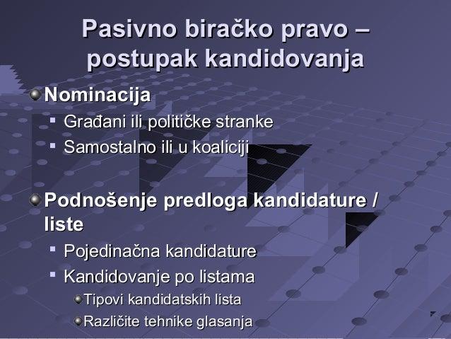 Pasivno biračko pravo – postupak kandidovanja Nominacija    Građani ili političke stranke Samostalno ili u koaliciji  Po...