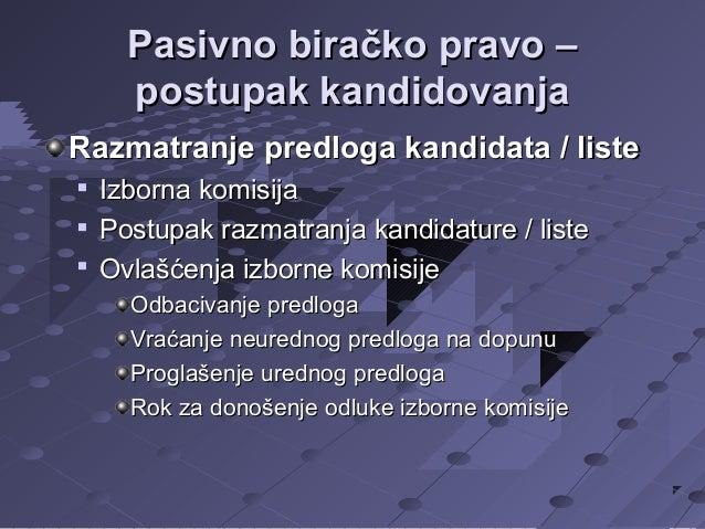 Pasivno biračko pravo – postupak kandidovanja Razmatranje predloga kandidata / liste     Izborna komisija Postupak razm...