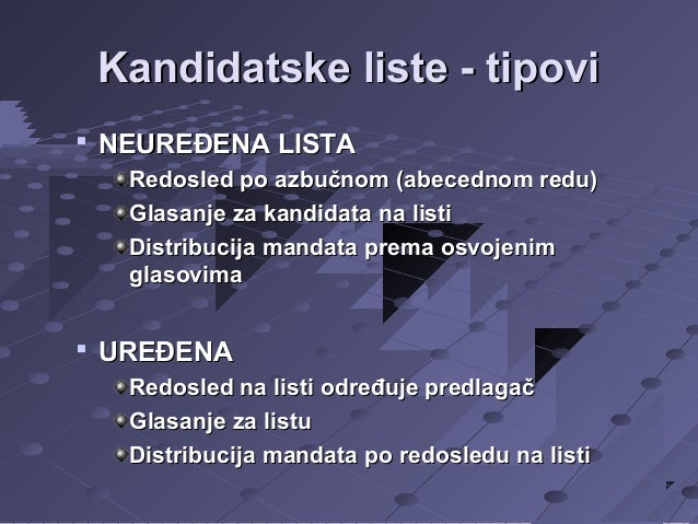 Kandidatske liste - tipovi   NEUREĐENA LISTA Redosled po azbučnom (abecednom redu) Glasanje za kandidata na listi Distrib...