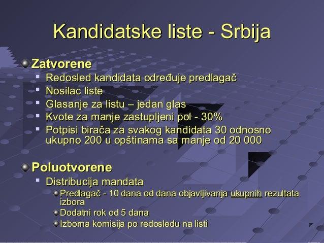 Kandidatske liste - Srbija Zatvorene       Redosled kandidata određuje predlagač Nosilac liste Glasanje za listu – je...